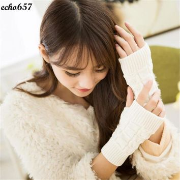Echo657 Hot Sale Fashion Women's Warm Winter Knitting Half Fingerless Gloves Oct 24