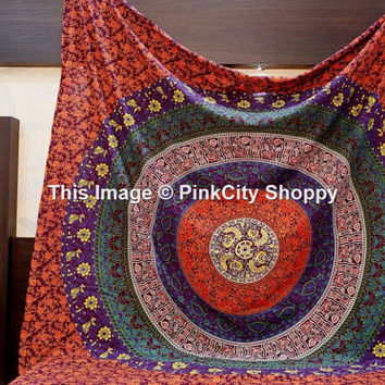 Large Indian Mandala tapestry, Bohemian Mandala tapestries, Indian Mandala Bedspread, Wall Hanging, Wall Tapestries, Dorm Tapestries, Throw