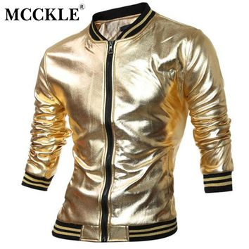 MCCKLE Novelty Mens Varsity Jacket Metallic Coated Night Club Wear Shiny Jackets Mandarin Collar Black Gold Silver Q2657