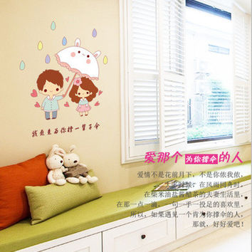Small couples umbrella for you Color transparent stickers Fashion creative home stickers on the wall SM6