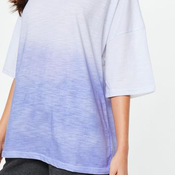 Missguided - White Drop Shoulder Ombre Oversized T Shirt