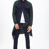 Hooded Varsity Jacket Navy/Green