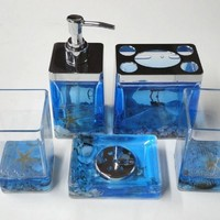 5pc Acrylic Bathroom Accessory Set w/ Ocean and ocean shell Design, Blue