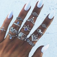 13Pcs/set New Arrival Vintage Silver Plated Arcylic Crystal Ring Set Charm Exquisite Elegant Finger Ring Sets Women Accessories Gift 111901