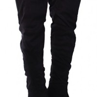 Black Faux Suede Slouchy Thigh High Boots Boots Catalog:women's winter boots,leather thigh high boots,black platform knee high boots,over the knee boots,Go Go boots,cowgirl boots,gladiator boots,womens dress boots,skirt boots,pink boots,fash