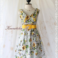Miss Floral II - Sweet Elegant Spring Summer Sundress Collection Floral Painting Print Feminine Party Dress