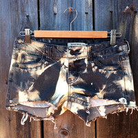 Electric Denim Size 26 Dark Gray Bleached Low Rise Studded Shorts