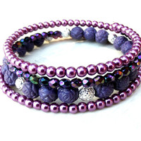 Purple Wrap Bracelet: Radiant Orchid Beaded Memory Wire Bracelet, Lavender Lilac Plum Silver Rose Stacked Layering Jewelry
