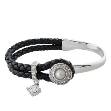 Black Leather and Silver Bracelet 1 Snap 12mm Mini
