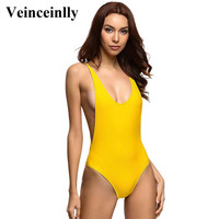 2017 New Sexy yellow one piece swimsuit bathing suit body suit scoop back one-piece Swimwear Women Beachwear Monokini V111Y