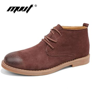 MVVT Genuine Leather Boots Men Chelsea Boots Suede Classic Chukkas Boots Lace-Up Autumn Winter Shoes Comfortable Ankle Boots