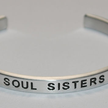 Soul Sisters with Double Hearts  |  Engraved Handmade Bracelet by: Say It and Wear It Jewelry