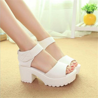 Fashion Sandals Women Summer shoes wedges Open Toe High Heels 100% Leather Free Shipping
