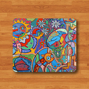 KID Drawing Art Painting Aztec Pattern MousePad Desk Deco Work Pad Thick Ecofriendly Sustainable Desk Accessories Mouse Pad Christmas Gift