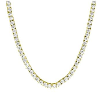 18k Gold Plated 1 Row 3MM Micro Tennis Lab Simulated Diamond Iced Out Tennis Chain