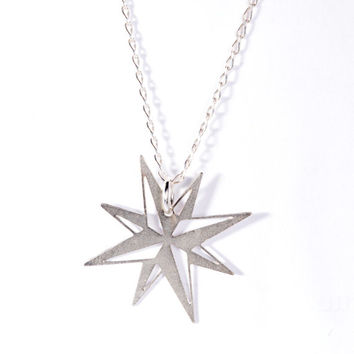 North Star Necklace Silver Necklace Icon Logo Necklace Silver Plated Small Pendant Miniature Jewelry Design Free Shipping