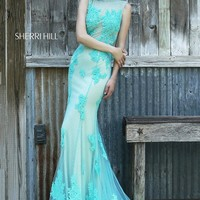 Sherri Hill Jewel Neckline Belted Waist Keyhole Back Sweep Train