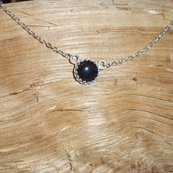 Sparkly Blue Goldstone Glass Pendant, Silver Blue Glass Necklace, Dainty Sterling Silver Chain, Handmade Necklace, FREE SHIPPING