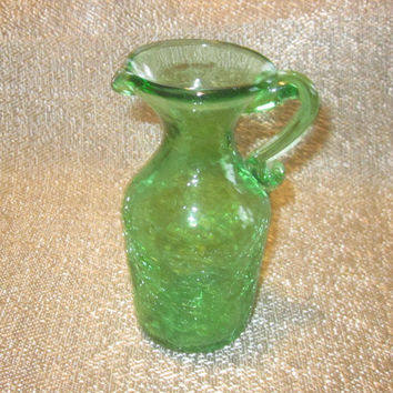 Green Crackle Glass Pitcher, Mini Art Glass Pitcher, Vintage Miniature Hand Blown Green Pitcher, Rough Pontil 70s 80s 90s