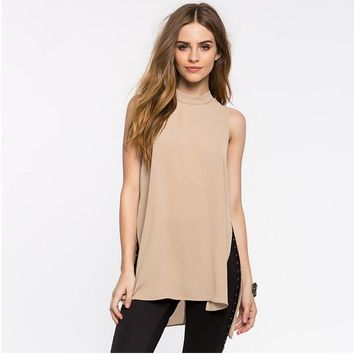 Sleeveless High Slit Blouse