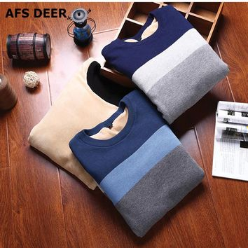 2016 New Autumn Fashion Brand Casual Sweater O-Neck Striped male Knitting Mens Sweaters And Pullovers Men Pullover  fleece