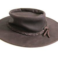 Vintage Minnetonka Brown Leather Hat / fold up hat / size large