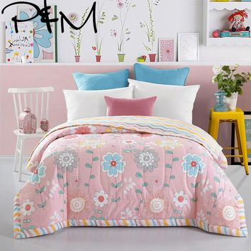 Papa&Mima Flowers Print Pink Quilting Summer Quilt Twin Queen Size Throws Blanket Cotton Bedding Plaid Bedspread