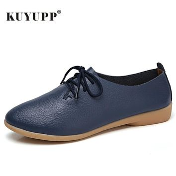 Genuine Leather Women Flat Fashion Causal Loafer Pointed Toe Women Shoes Big Size 35-44 Lace Up Ladies Shoes