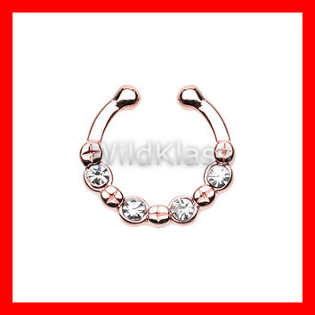 Rose Gold Fake Septum Ring Horseshoe Elan Multi Gem Clip-On Ring Cartilage Earrings Nipple Ring Circular Barbell Tragus Jewelry Helix Conch