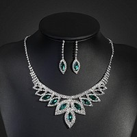 Crystal 6 Colors Bridal Jewelry Sets Silver Color Rhinestone Turkish Indian Wedding Jewelry Women Necklace Earring Set