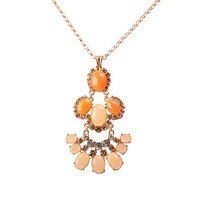 Trendy Metal Chain Bib Flower Design Pendant Necklace