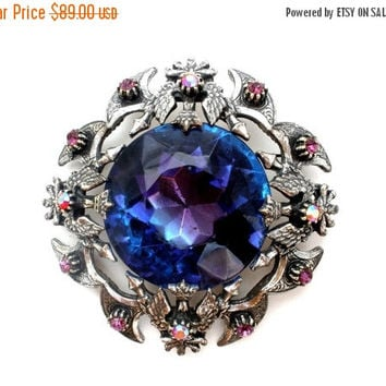 36% Off Sale Florenza Brooch, Heliotrope Rhinestone, Signed Pin, Crowned Eagle, Silver Jewelry, Vintage Brooches, Designer Jewellery, Purple