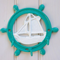 Beach Decor Cast Iron Ships Wheel / Boat Key Holder