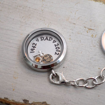 Memory Locket Keychain with Floating Charms | Handstamped Personalized Floating Locket Keychain