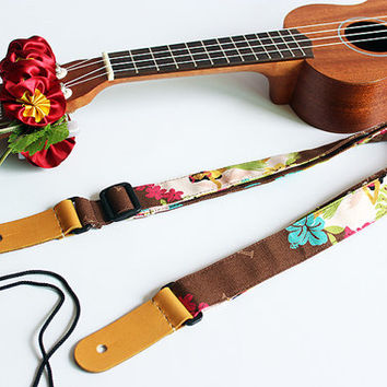 Ukulele strap & ribbon lei / hula girl b / ukulele strap / hawaiian fabric  /ukulele accessory / hawaiian ribbon lei / instrument strap
