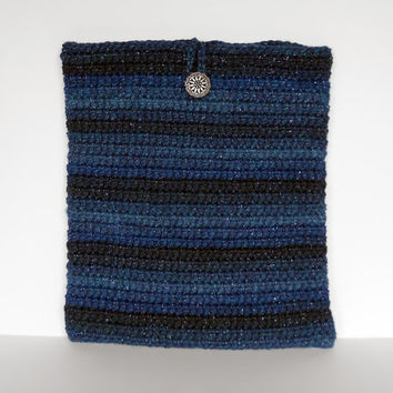 Blue Crochet Tablet Case/ Cozy/ Sleeve for iPad or 9 inch Kindle or Nook Tablets