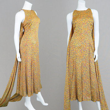 Vintage 90s VALENTINO Boutique Gold Silk Dress Silk Jacquard Bias Cut Backless Evening Gown Train Dress Open Back Dress Designer Floral