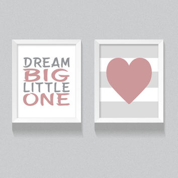 Printable Nursery Art, 'Dream Big, Little One' Pink Girl's Nursery Digital Download, Set of two, Grey and Peach/Pink, Girl's Bedroom Decor