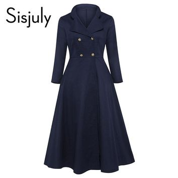 Women Autumn Turn Down Collar A Line Double-breasted Mid Calf Elegant Party Dresses New Arrival