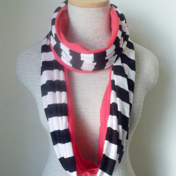 Black and White Striped Coral Colorblocked Scarf