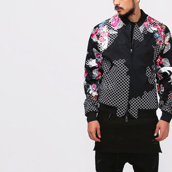 Flower Embroidered Bomber Blouson