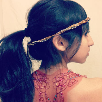 Rhinestone Willow Headband - Wooden Boho Nature Crown Branch Headpiece, Hippie