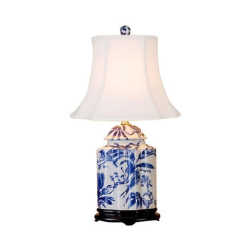 """Chinese Blue and White Porcelain Tea Caddy Bird Motif Table Lamp 22"""""""
