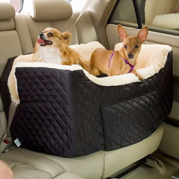 Snoozer Pet Dog Cat Puppy Outdoor Lookout Car UV Secure Safety Travel Seat Large Black Quilt Black Quilt