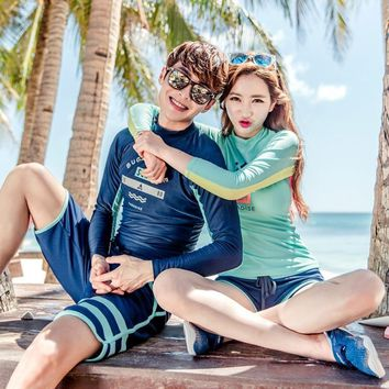 Hot Couples Two Pieces swimsuit Long Sleeve Top&Bottom Trunks Beachwear Bathing suit