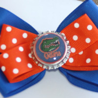 University of Florida Gators Blue and Orange Polka Dot Hair Bow