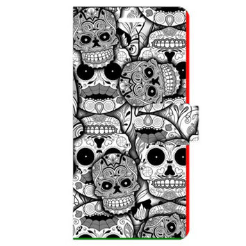 Sugar Skulls Black And White Apple iPhone 6 Plus Leather Folio Case