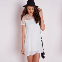 Crochet Lace Embroidered Short Sleeve A-Line Mini Dress