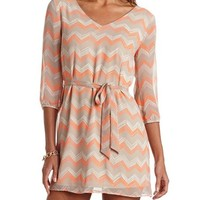 CROCHET BACK BELTED CHEVRON DRESS