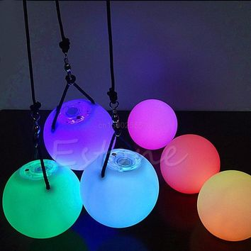 LED Thrown Balls Light Multi-Colored POI Glow Thrown Balls Light Up For Belly Dance Hand Props